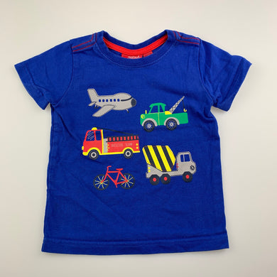Boys Sprout, blue cotton t-shirt / top, fire engine, GUC, size 1