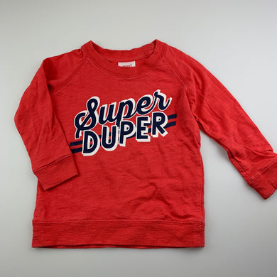 Boys Seed, red cotton long sleeve top, GUC, size 1-2