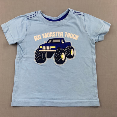 Boys Sprout, blue cotton t-shirt / top, monster truck, GUC, size 1