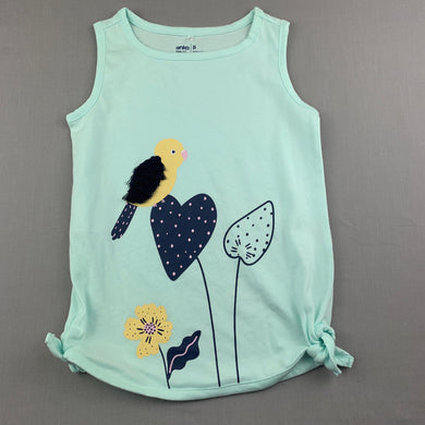 Girls Anko, aqua cotton tank top, bird, EUC, size 5