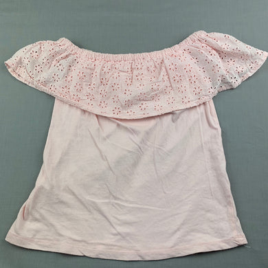 Girls Cotton On, pink cotton top, broderie collar, GUC, size 7