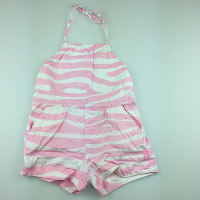 Girls Fred Bare, pink & white cotton summer playsuit, GUC, size 1