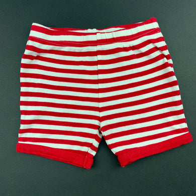 Unisex Sprout, red & white stripe cotton pyjama shorts, GUC, size 2