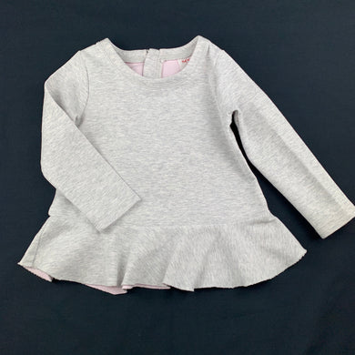 Girls Seed, grey marle long sleeve peplum top, GUC, size 4