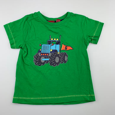 Boys Sprout, green cotton t-shirt / top, monster truck, EUC, size 1