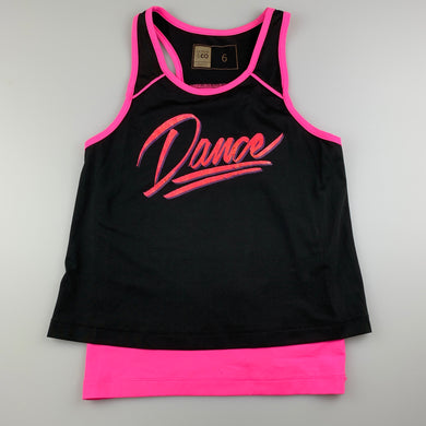 Girls Active & Co, black & pink dance top, GUC, size 6