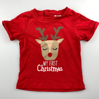 Unisex Baby Berry, red cotton Christmas / t-shirt / top, Rudolph, EUC, size 000