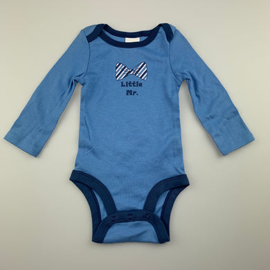 Boys Babies R Us, blue cotton bodysuit / romper, EUC, size 000