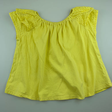Girls Cotton On, yellow cotton t-shirt / top, broderie sleeves, GUC, size 7