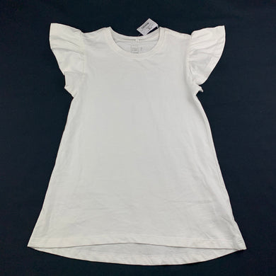 Girls Clothing & Co, white cotton angel sleeve long top / tee, L: 52cm, NEW, size 7
