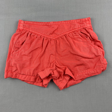 Girls Country Road, coral lyocell shorts, elasticated, GUC, size 4