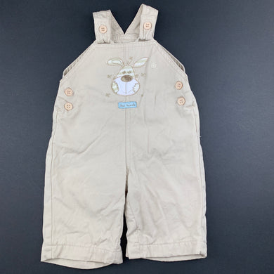 Boys Bebe Cool, lined beige cotton overalls / dungarees, EUC, size 0000