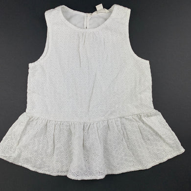 Girls Country Road, white broderie cotton peplum top, EUC, size 3
