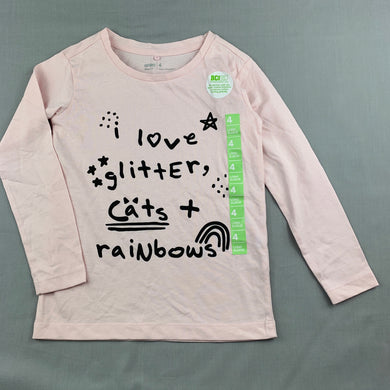 Girls Anko, pink cotton long sleeve t-shirt / top, rainbow, EUC, size 4