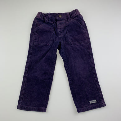 Boys Sprout, dark purple corduroy cotton pants, adjustable, Inside leg: 32cm, GUC, size 2