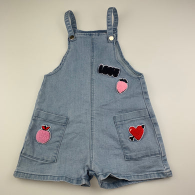 Girls Seed, blue stretch denim overalls / shortalls, FUC, size 4