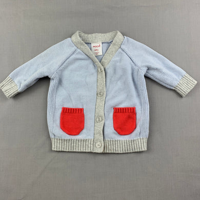 Unisex Seed, Baby, knitted cotton cardigan / sweater, EUC, size 0000