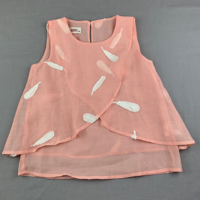 Girls Cicie, peach lightweight top, embroidered feathers, GUC, size 8