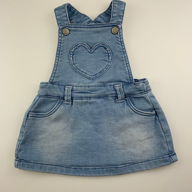 Girls Anko Baby, blue stretch knit denim overalls dress / pinafore, EUC, size 00