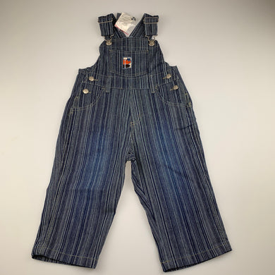 Boys Pumpkin Patch, blue stripe stretch denim overalls / dungarees, NEW, size 2