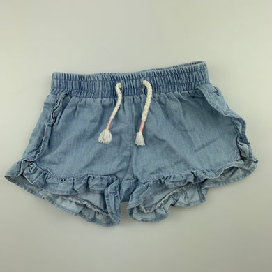 Girls Anko Baby, blue chambray cotton shorts, elasticated, EUC, size 000