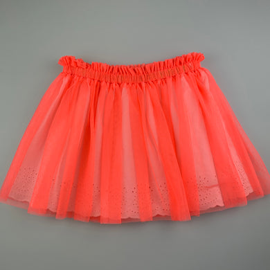 Girls Seed, broderie cotton lined fluoro tutu skirt, EUC, size 7