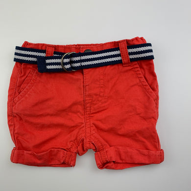 Boys Baby by Gemo, dark orange cotton shorts, belt, elasticated, GUC, size 6 months