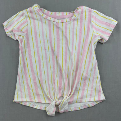 Girls Anko, striped cotton tie front t-shirt / top, GUC, size 1