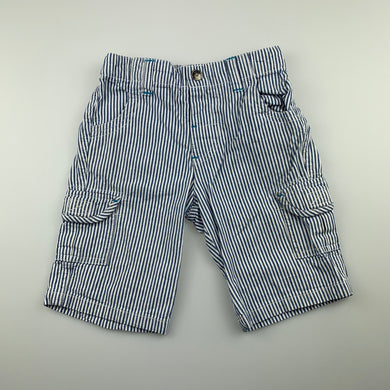 Boys Sprout, blue stripe cotton cargo shorts, adjustable, EUC, size 2