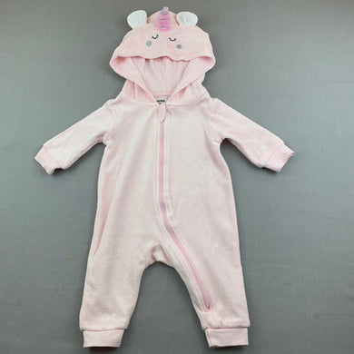 Girls Anko Baby, pink velour zip hooded romper, unicorn, EUC, size 000