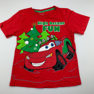 Boys Disney, Cars, red cotton Christmas t-shirt / top, GUC, size 5
