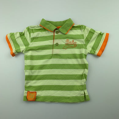 Boys Baby Baby, green cotton polo shirt / top, GUC, size 00