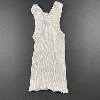 Unisex Bonds, grey ribbed cotton singlet top, GUC, size 0000