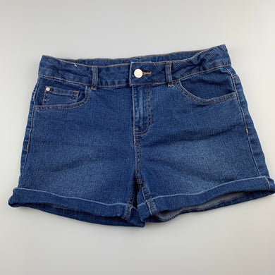 Girls Anko, blue stretch denim jean shorts, adjustable, EUC, size 14