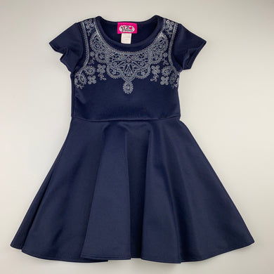 Girls 2 Princess, navy stretchy party dress, GUC, size 5