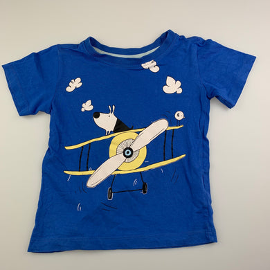 Boys Sprout, blue cotton t-shirt / top, dog, GUC, size 2