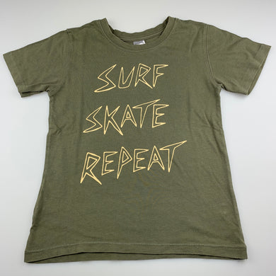 Boys Clothing & Co, khaki cotton t-shirt / top, surf, GUC, size 7