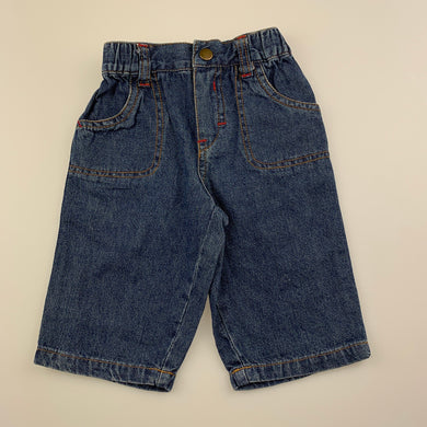 Boys Baby Biz, blue denim pants, elasticated, GUC, size 00