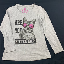 Load image into Gallery viewer, Girls Miss Understood, grey long sleeve t-shirt / top, kitten, FUC, size 8