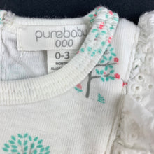 Load image into Gallery viewer, Girls purebaby, soft organic cotton romper, trees, EUC, size 000