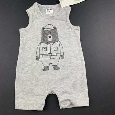 Boys Anko Baby, grey soft feel romper, bear, NEW, size 0000