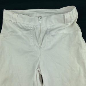Girls Piccolina, white stretchy cotton pants, W: 46cm, Inside leg: 32cm, FUC, size 4