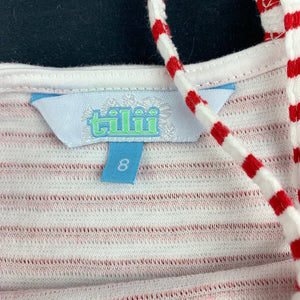 Girls Tilii, red & white stripe summer dress, GUC, size 8