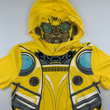 Load image into Gallery viewer, Boys Transformers, Bumble Bee hooded t-shirt / top, EUC, size 6