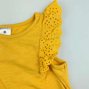 Girls Target, Baby, mustard cotton top, broderie sleeves, GUC, size 1