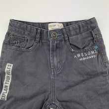 Load image into Gallery viewer, Boys Zara, grey distressed denim jean shorts, adjustable, GUC, size 6