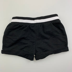 Girls H&T, black soft feel shorts, elasticated, EUC, size 2