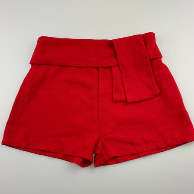 Girls B Collection, red lightweight shorts, elasticated, EUC, size 8