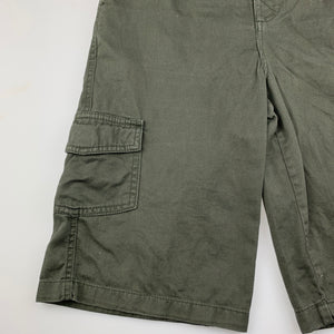 Boys Solutions, dark khaki cotton cargo shorts, elasticated, FUC, size 10