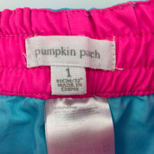 Load image into Gallery viewer, Girls Pumpkin Patch, lightweight shorts / board shorts, elasticated, GUC, size 1